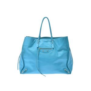 Balenciaga Paper Blue Ladies Men's Calf Handbag AB Rank BALENCIAGA Used Ginzo