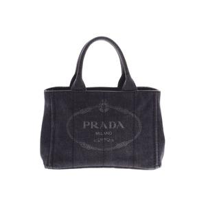 Prada Kanapamini Black 1BG439 Women's Denim 2WAY Tote Bag AB Rank PRADA With Strap Used Ginzo