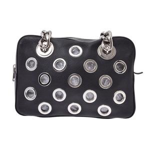 Prada Chain Handbags Punching Black Women's Men's LeatherPouch