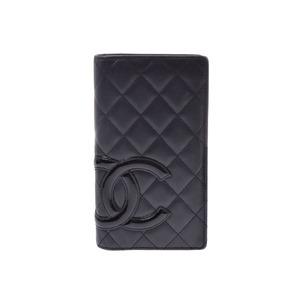 Chanel Cambon Line Fastener Long Wallet Black / Ladies Calf Enamel AB Rank CHANEL Box Used Ginzo