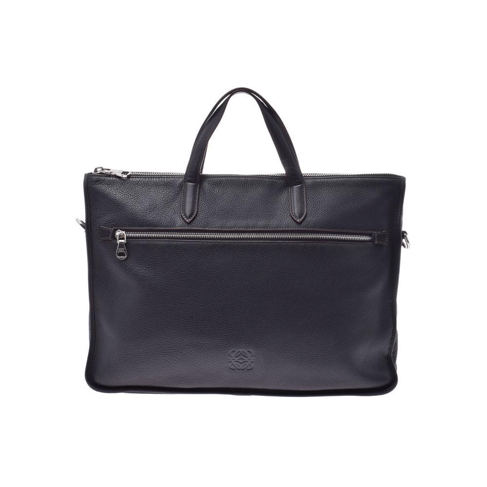 ロエベ(Loewe) ロエベ ブリーフケース 黒 SV金具 メンズ カーフ ビジネスバッグ Bランク LOEWE ストラップ 中古 銀蔵