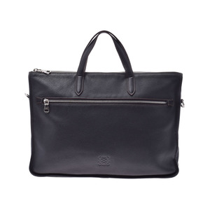 Loewe Briefcase Black SV Bracket Men's Calf Business Bag B Rank LOEWE Strap Used Ginzo