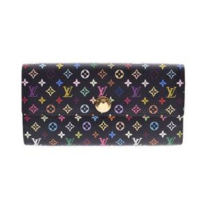Louis Vuitton Multi-Colored Portofey Yussala Black / Grunard M93747 Women's Genuine Leather Long Wallet AB Rank LOUIS VUITTON Used Ginzo