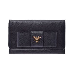 プラダ(Prada) プラダ ファスナー財布 リボンモチーフ 黒 1MH438 レディース サフィアーノ Bランク PRADA ギャラ 中古 銀蔵