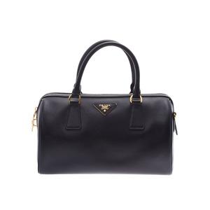 Prada 2WAY mini Boston bag Black BL0797 Ladies Safiano B rank PRADA Gala with strap Used Ginzo