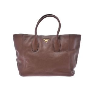 Prada 2WAY tote bag Brown G hardware Women's calf embossed B rank PRADA used Ginzo