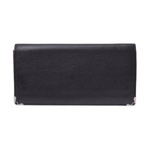 Cartier Cabochon Two-Fold Long Wallet Black / Bordeaux Ladies Mens Calf B-rank CARTIER Used Ginzo