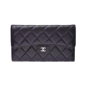 Chanel Matrasse Three fold long wallet Black SV hardware Women's lambskin New item beauty product CHANEL box Gala Used Ginzo