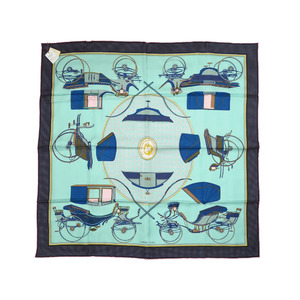 Unused Hermes Calle 90 Carriage with folding hood LES VOITURES A TRANSFORMATION 100% Silk Blue scarf 0028 HERMES