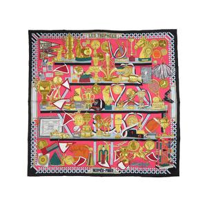 Like new Hermes Carre 90 Trophy LES TROPHEES 100% silk black pink scarf 0044 HERMES