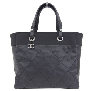 Genuine CHANEL Chanel Paris Biarritz Tote MM bag black 18 stand leather