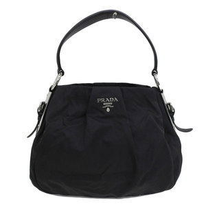 Genuine PRADA Prada nylon one shoulder bag black silver hardware leather