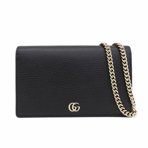 Genuine Gucci Leather Marmont Chain Wallet Shoulder Bag Black 497985