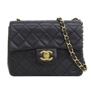 Genuine CHANEL Chanel Mini Matrasse Chain Shoulder Bag Black 2nd stand bag leather