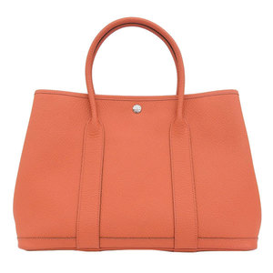Genuine HERMES Hermes Country Garden Party PM Tote Bag Orange Poppy X Engraved Leather