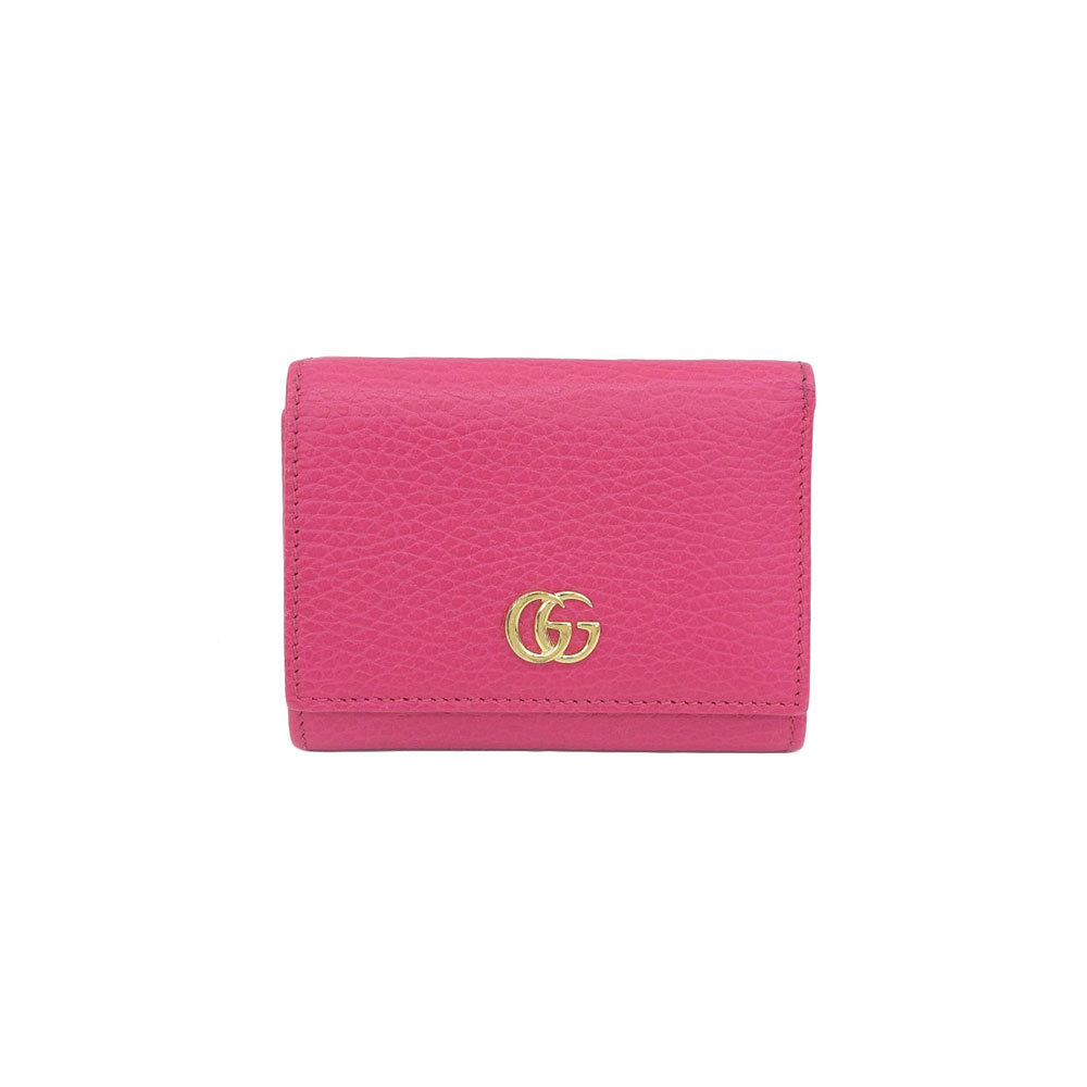on sale be740 fbabe Genuine GUCCI Gucci marmont W hook tri-fold wallet pink 474746 leather |  eLady.com