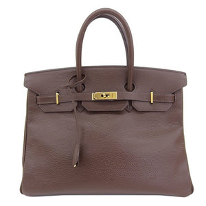 Genuine HERMES Hermes Birkin 35 Ardennes Brown Gold hardware 021699CC □ F engraved bag leather