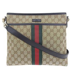 Genuine GUCCI Gucci GG canvas sherry shoulder bag beige 388926 leather