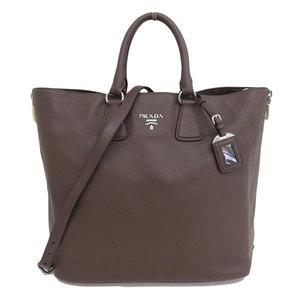 Genuine PRADA Prada Leather 2WAY Tote Bag Brown Silver Hardware Model: BN2419