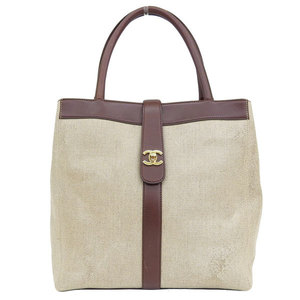 Genuine CHANEL Chanel PVC Leather Tote Bag Beige Brown 6 stand