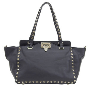 Genuine VALENTINO GARAVANI Galavani leather studs 2Way tote bag black JWB0037BOLONO