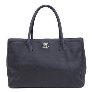 Genuine CHANEL Chanel Caviar Skin Executive Tote Bag Black Silver Hardware A15206 12 series Leather