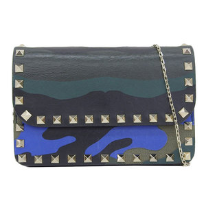 Genuine VALENTINO GARAVANI Valentino leather chain shoulder bag wallet camouflage green system