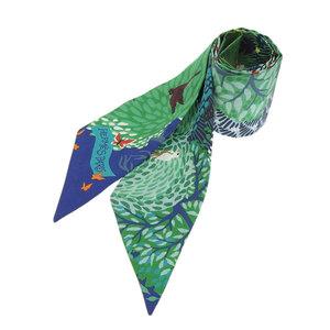 HERMES Dans Un Jardin Anglais Silk twirled scarf animal green in english garden