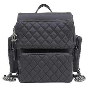 Genuine CHANEL Chanel Soft caviar rucksack pack black 22 stand bag leather