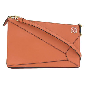 Genuine LOEWE Loewe Puzzle Leather Shoulder Bag Pouch Orange