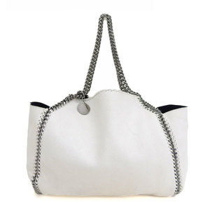 Genuine STELLA McCARTNEY Stella McCartney Falabella Reversible Chain Tote Bag White x Agate Leather