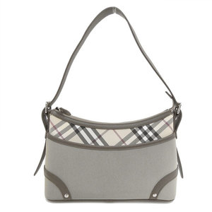 Genuine BURBERRY Burberry nylon × leather one shoulder bag gray beige
