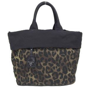 Genuine PRADA Prada leopard print nylon 2WAY tote bag shoulder black / brown model number: BN 1959 leather