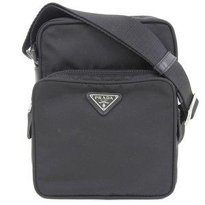Genuine PRADA Prada nylon shoulder back silver hardware black bag leather