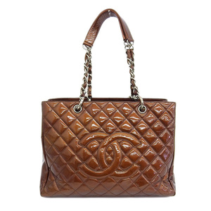 Authentic CHANEL Chanel Enamel Matrasse Reprinted Chain Tote Bag Bronze 12th Leather