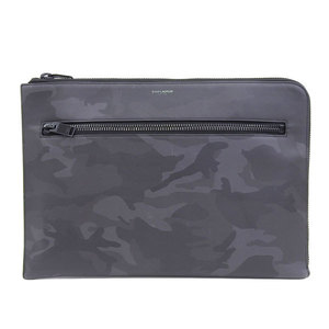 Genuine YVES SAINT-LAURENT Yves Saint Laurent Leather Clutch Camouflage Black Based Bag