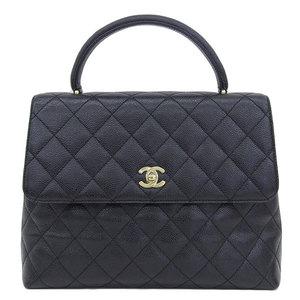 Genuine CHANEL Chanel caviar skin Kelly type handbag black gold hardware 6 stand bag leather