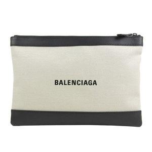 Genuine BALENCIA GA Balenciaga clip clutch bag ivory black 373834 leather