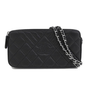 Genuine CHANEL Chanel Caviar Skin Pouch Chain Shoulder Bag Black Silver Hardware 26th Leather