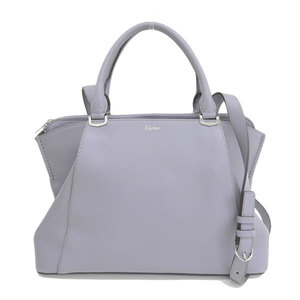 Genuine Cartier Marcello Leather 2WAY Handbag Gray Bag