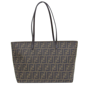 Genuine FENDI Fendi Zucca Pattern PVC Tote Bag Brown 8BH198 Leather