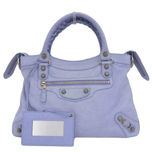Genuine BALENCIAGA Balenciaga City 2WAY handbag shoulder bag light blue 240578 leather