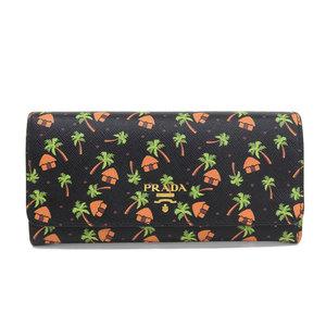 Genuine PRADA Prada Safiano Leather Long Bi-Fold Wallet Black 1MH132