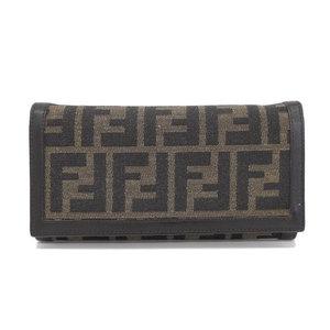 Genuine Fendi Zucca Pattern Folded Purse Brown 2804 30851 Leather