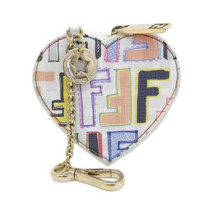 Genuine Fendi PVC Heart Coin Case Multi White Leather