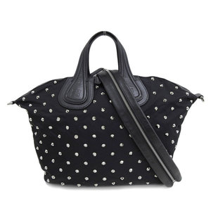 Genuine GIVENCHY Givenchy Nightingale Nylon Studs 2WAY Handbag Black Bag Leather