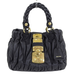 Genuine MIUMIU Miu Gather Materasse 2WAY Handbag Shoulder Bag Black Leather