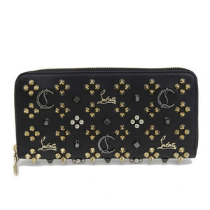 Genuine Christian Louboutin Leather Studs Round Zip Long Wallet Black