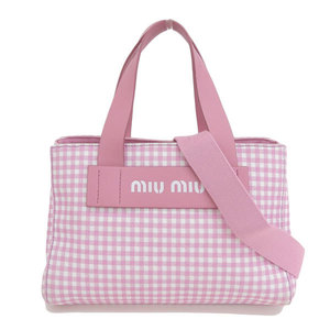 Genuine MIU Miu Kanapa Gingham check 2WAY tote bag pink 5BA085 leather