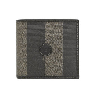 Genuine Fendi PVC Pecan Two-folded wallet Brown Black Leather